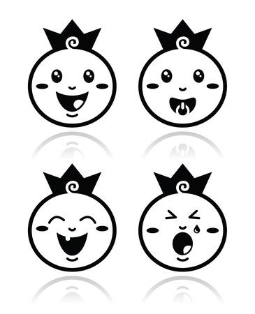 crying: Royal baby, little prince icons set