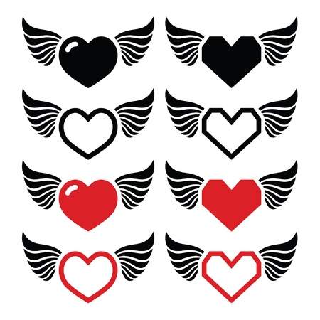 religious music: Heart with wings icons set Illustration