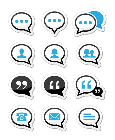 contact page: Speech bubble, blog, contact icons set Illustration