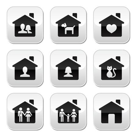 mujer sola: Home, botones familiares establecidos