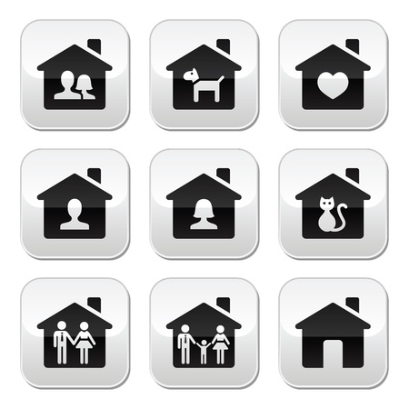 Home, family buttons set  Vector
