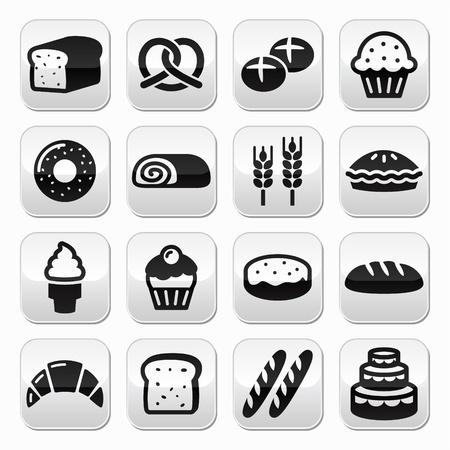 Panadería, pastelería botones conjunto - Pan, buñuelo, torta, magdalena Ilustración de vector