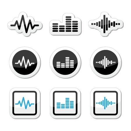 soundwave: Soundwave music icons set  Illustration