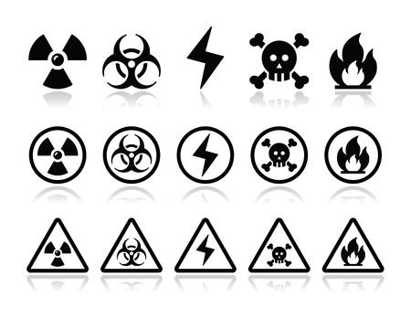 explosion risk: Danger, attention icons set Illustration