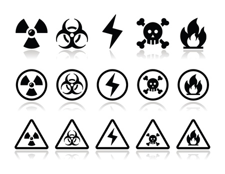 radiation protection: Danger, attention icons set Illustration