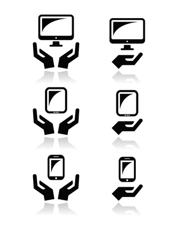 Hands with computer, tablet, mobile or cell phone icons Vector