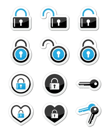 Padlock, key, account vector icons set Vector