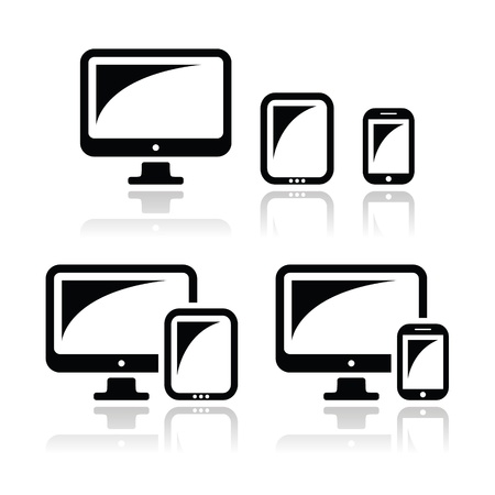 Computer, tablet, smartphone vector icons set Vector