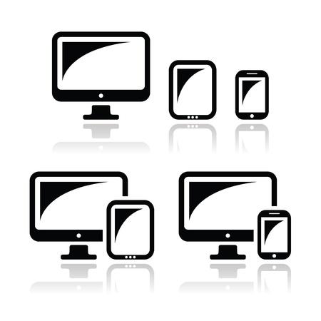 adapt: Computer, tablet, smartphone vector icons set Illustration