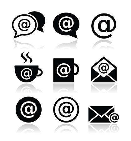 cafe internet: Email, caf� internet, iconos vectoriales wifi configurado