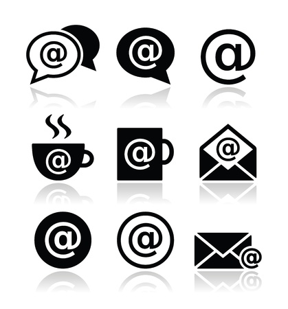 e work: Email, internet cafe, wifi vector icons set Illustration