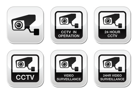 break in: C�mara CCTV, videovigilancia botones conjunto Vectores