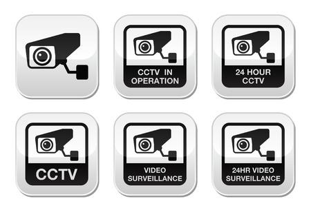 CCTV camera, Video surveillance buttons set Vector