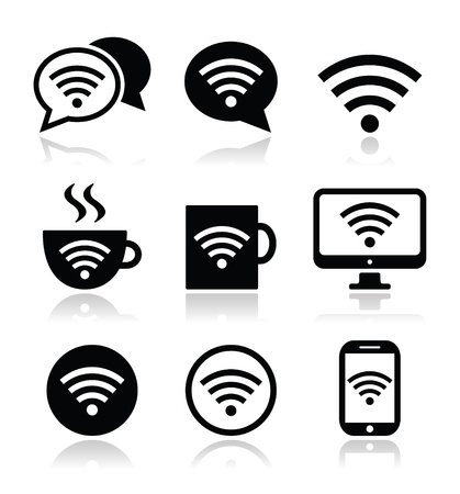internet cafe: Wifi, internet cafe, wifi vector icons set Illustration
