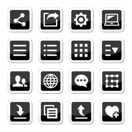 settings: Menu-instellingen gereedschap pictogrammen instellen Stock Illustratie