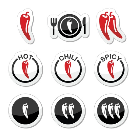 Chili peppers, hot and spicy food icons set Vector