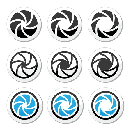shutter: Camera shutter aperture vector icons set  Illustration