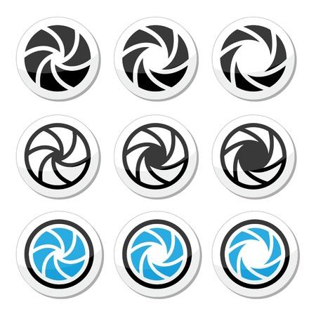 serrande: Otturatore della fotocamera apertura vettoriali set di icone Vettoriali