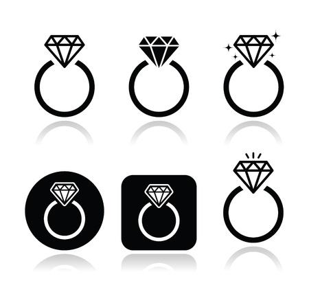 ring engagement: Anillo de compromiso de diamantes icono vector Vectores
