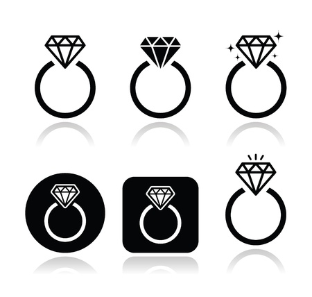 silver ring: Diamond engagement ring vector icon