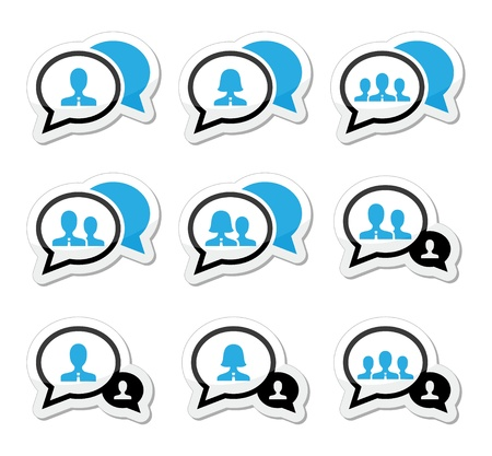 comment: Business meeting, communication icons set Illustration
