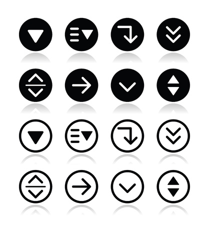 drop down: Drop down menu round icons set Illustration