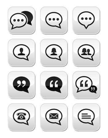 Speech bubble, blog, contact vector buttons set Stock Vector - 21448629