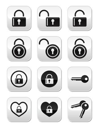 computer hacker: Lucchetto, chiave vettore pulsanti set Vettoriali