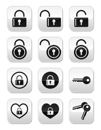 Padlock, key vector buttons set