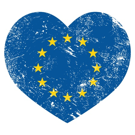 EU, I love European Union heart retro flag Vector