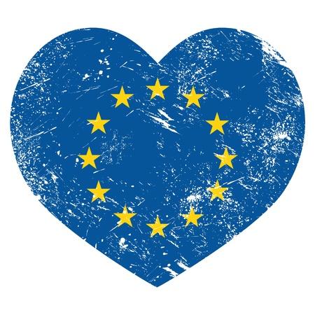 euro coin: EU, I love European Union heart retro flag