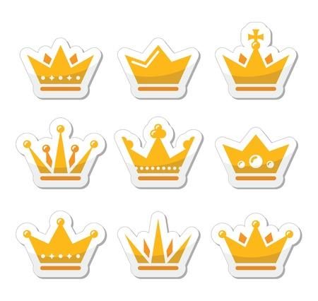 crown king: Crown, royal family icons set Illustration