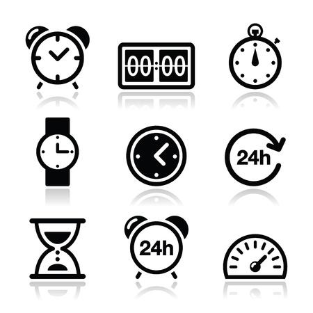 Tijd, klok vector iconen set