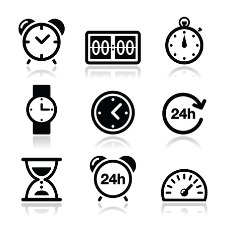 electric meter: Time, clock vector icons set