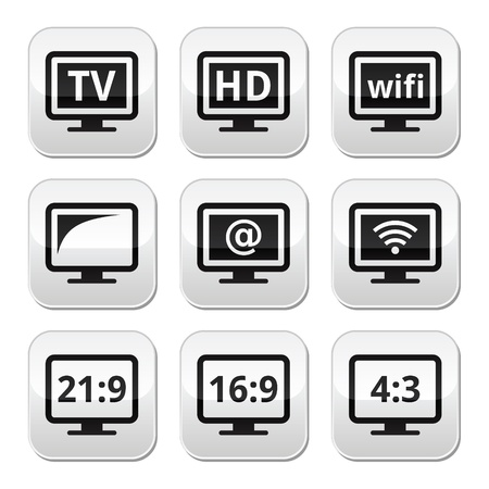 TV monitor, screen buttons set Stock Vector - 21448637