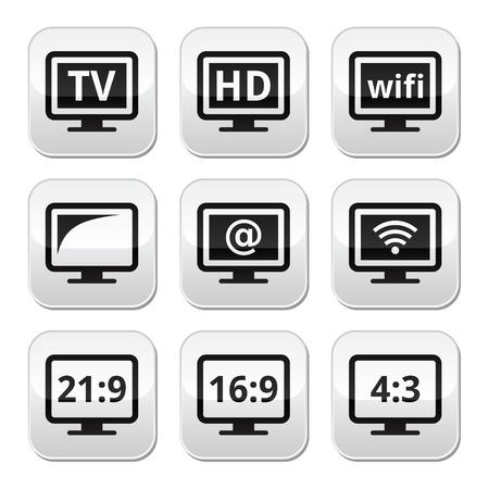16 9: TV monitor, screen buttons set