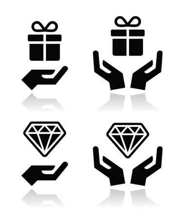 pr�sentieren: H�nde mit Geschenk-und Diamant-Icons Illustration