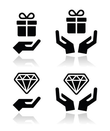 dar un regalo: Manos con los iconos presentes y diamantes establecido Vectores