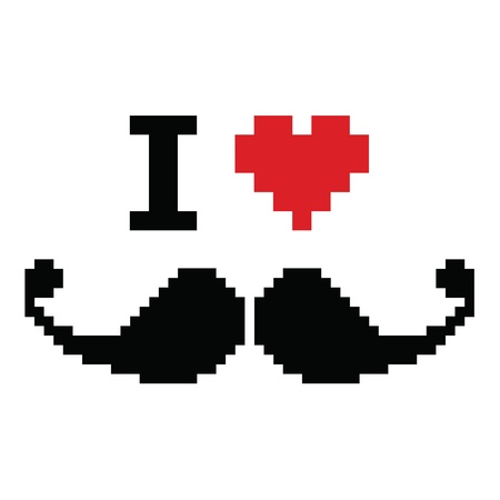 I love mustache pixelated, retro geeky sign Vector