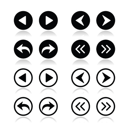 Previous, next arrows round icons set Stock Vector - 21448642