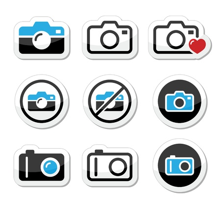 Camera analogue and digital icons set Stock Vector - 21448647