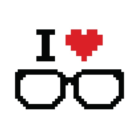 I love geeks pixelated, retro sign Vector