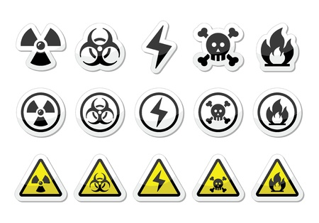 Danger, risk, warning icons set Vector