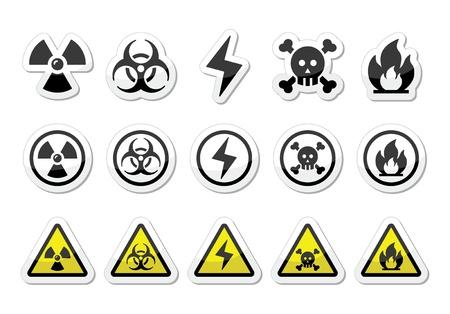 riesgo quimico: Peligro, riesgo, iconos de advertencia fijados