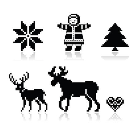 Christmas nordic pattern vector icons set  Illustration