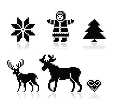 knitted: Christmas nordic pattern vector icons set  Illustration