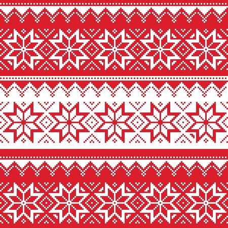 北欧のシームレスな赤いクリスマスのパターン