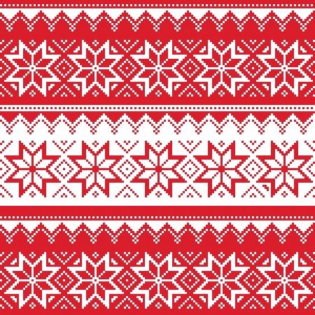 Patrón nórdico transparente rojo de la Navidad