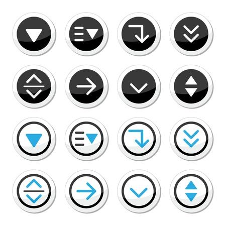 Menu drop down round icons set Stock Vector - 21448655