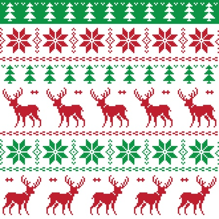 scandynavian: Nordic seamless pattern with deer and christmas tree